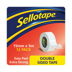 View more details about Sellotape Double Sided Tape 15mmx5m (Pack of 12) 1445293