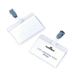 View more details about Durable Self Laminating Name Badge 54x90mm Clear Transparent (Pack of 25) 8149/19