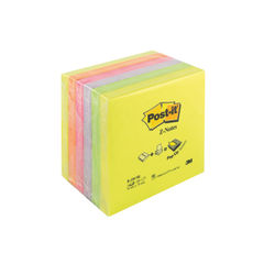 View more details about Post-it 76 x 76mm Neon Rainbow Z-Notes, Pack of 6 - R330 NR