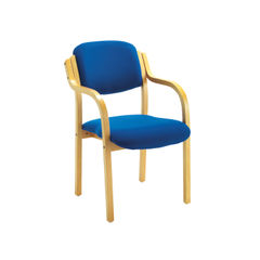 View more details about Jemini Blue Wood Frame Side Chair with Arms