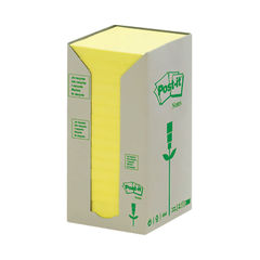 View more details about Post-it 76 x 76mm Canary Yellow Recycled Z-Notes, Pack of 16 - 654-1T