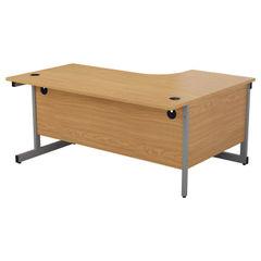 View more details about Jemini 1600mm Nova Oak/Silver Left Hand Radial Desk