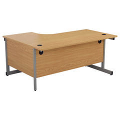 View more details about Jemini 1600mm Nova Oak/Silver Right Hand Radial Desk