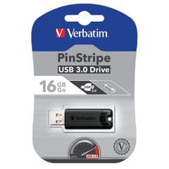 View more details about Verbatim Pinstripe USB 3.0 Flash Drive 16GB Black 49316