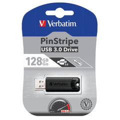 View more details about Verbatim Pinstripe USB 3.0 Flash Drive 128GB Black 49319