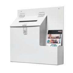 View more details about Deflecto White Ballot / Suggestion Box, W350 x D83 x H352mm - DE79803
