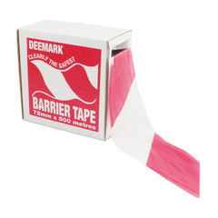 View more details about Flexocare 72mm x 500m Red/White Polythene Barrier Tape - 7101001
