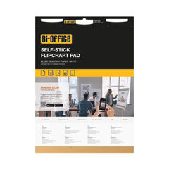 View more details about Bi-Office Self-Stick Flipchart Pad 635x780mm 30 Sheet White (Pack of 2) FL128107
