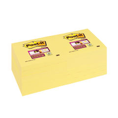 View more details about Post-it Super Sticky 76x76mm Canary Yellow (Pack of 12) 654-12SSCY