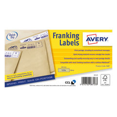View more details about Avery Brown Kraft 140 x 38mm Franking Labels (Pack of 500) – FL17