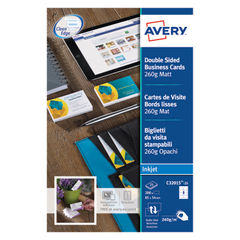 View more details about Avery 85 x 54mm Double-Sided Matte Inkjet Business Cards, Pack of 200 - C32015-25