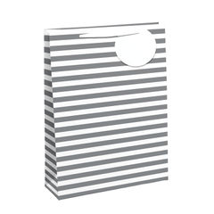 View more details about White/Silver Striped Large Gift Bags (Pack of 6) - 26658-2