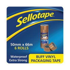 View more details about Sellotape 50mm x 66m Brown Vinyl Case Sealing Tapes, Pack of 6 - 503846