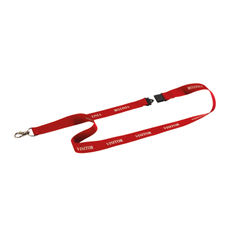 View more details about Durable Textile Visitor Badge Lanyard 20mm Red (Pack of 10) 999107995