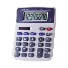 View more details about Aurora White/Blue 8-Digit Semi-Desk Calculator DT210