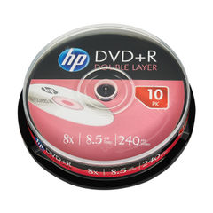 View more details about HP DVD+R DL 8X 8.5GB Spindle (Pack of 10) 69309