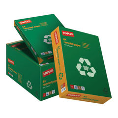 View more details about Staples A4 White 100% Recycled Paper 80gsm, Pack of 2500 – K1706221080A