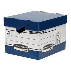 View more details about Bankers Box Blue/White Heavy Duty Ergo Storage Box, Pack of 10 - 0038801