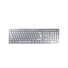 View more details about CHERRY KC 6000 Slim Ultra Flat Wired Keyboard Silver/White JK-1600GB-1