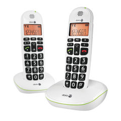 View more details about Doro DECT Cordless Telephone Big Button White Twin Pack PHONEEASY 100WD
