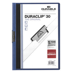 View more details about Durable 3mm Duraclip File A4 Dark Blue (Pack of 25) 2200/07