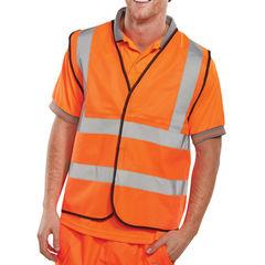 View more details about Large Orange Hi-Visibility Vest - WCENGORL