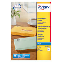View more details about Avery Inkjet Address Labels 21 Per Sheet Clear (Pack of 525) J8560-25