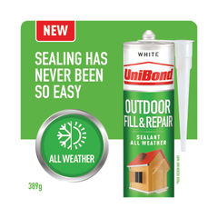 View more details about UniBond Outdoor Fill and Repair Cartridge White 280ml 2652146