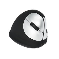 View more details about R-GO Black/Silver Medium Right Handed Wireless Ergonomic Mouse - RGOHEWL