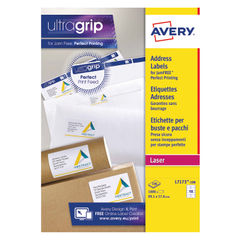 View more details about Avery Ultragrip Laser Labels 99.1x57mm White (Pack of 1000) L7173