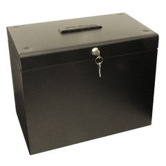 View more details about Cathedral Metal File Box Home Office A4 Black A4BK