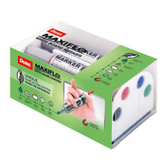 View more details about Pentel Maxiflo Whiteboard Marker with Magnetic Eraser MWL5M/MAG/4-M