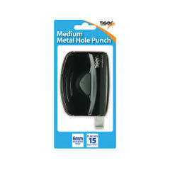 View more details about Tiger Black Medium Metal 2 Hole Punch, Pack of 6 - 301517
