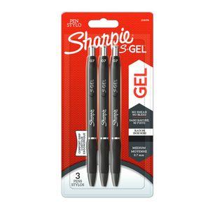 Sharpie S-Gel Black Medium Gel Pens, Pack of 3