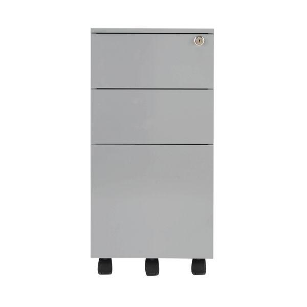 Jemini 615mm Silver 3 Drawer Mobile Slimline Steel Pedestal