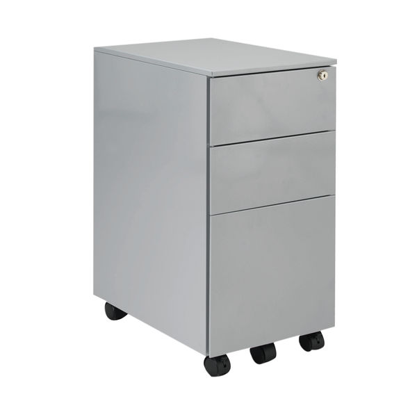 Jemini 615mm Silver 3 Drawer Mobile Slimline Steel Pedestal