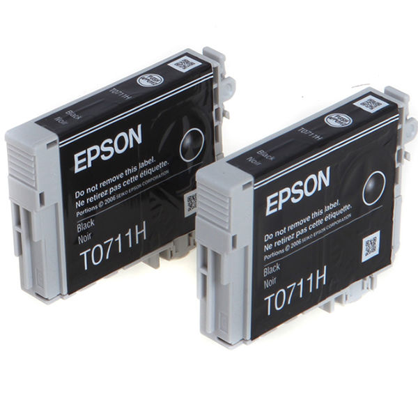 Epson T0711H High Capacity Black Ink Cartridge Twin Pack - C13T07114H10