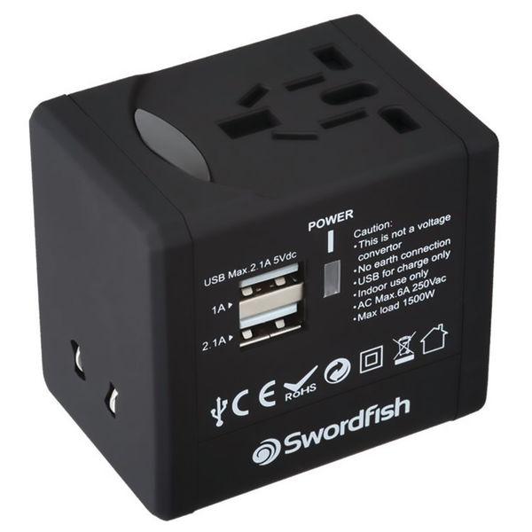 Swordfish VariPlug Universal Travel Adapter Black 40249