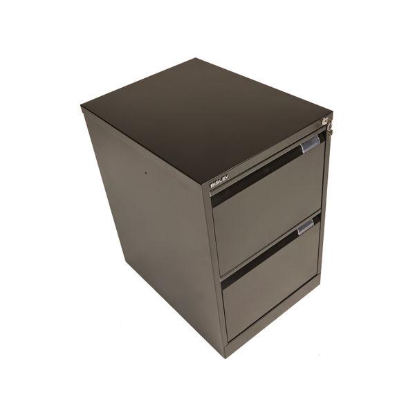 Bisley 711mm Black Flush Fronted 2 Drawer Filing Cabinet - BS2E BLACK