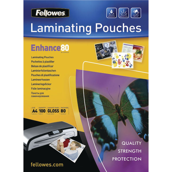 Fellowes A4 Enhance Self-Adhesive Laminating Pouches, Pack of 100 | 53022