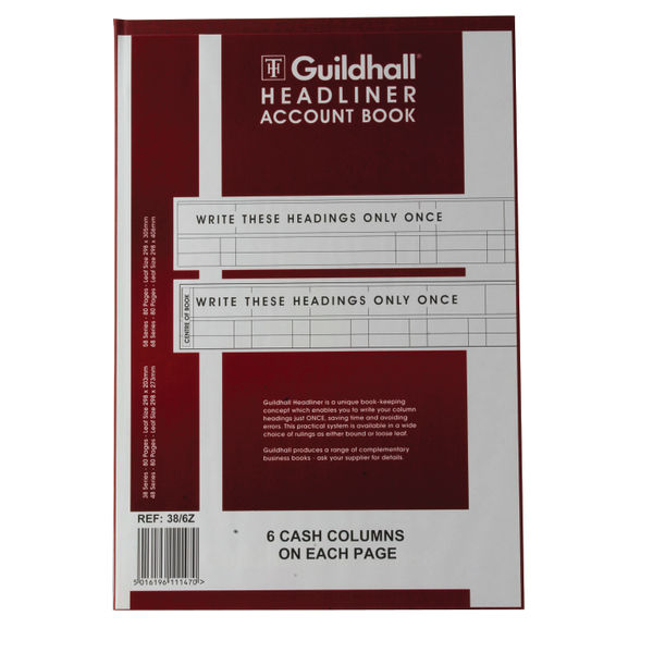 Guildhall Account Book 6 Cash Column/Page OEM: 1147