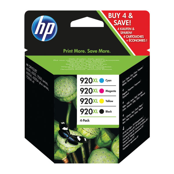 HP 920XL High Capacity Black and Colour Combo Ink Cartridge 4 Pack | C2N92AE