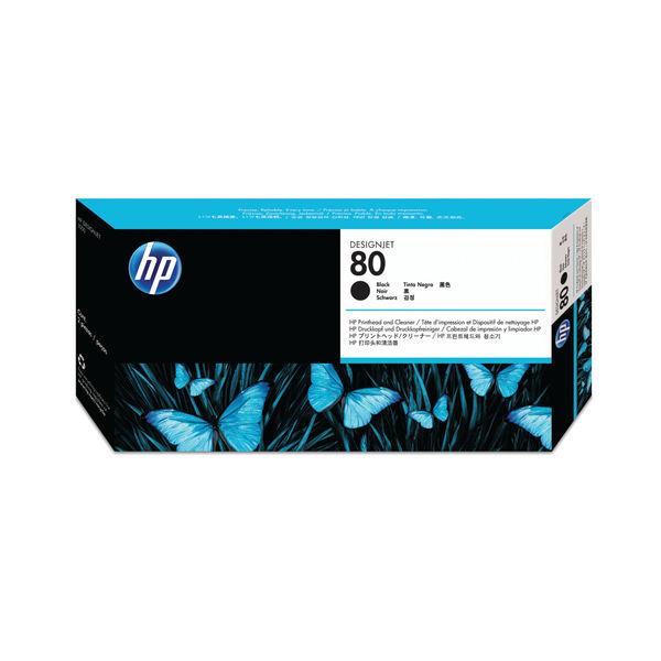 HP 80 Inkjet Printhead Black & Printhead Cleaner | C4820A