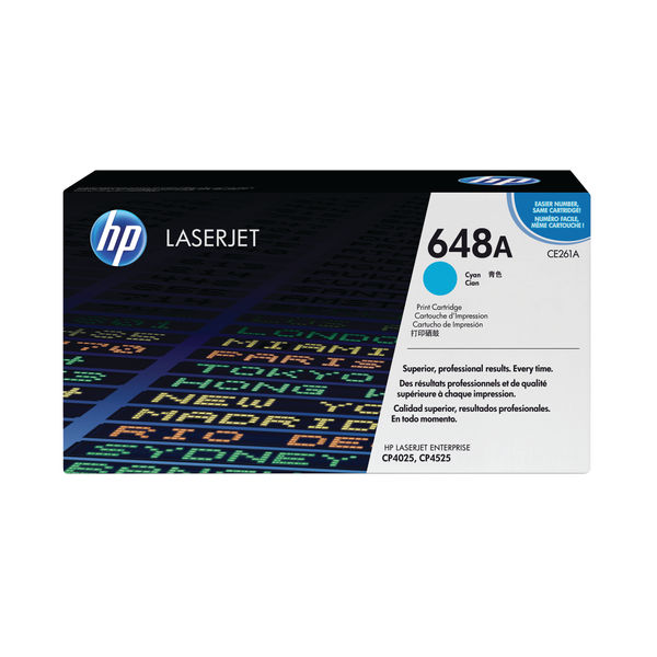 HP 648A Cyan Laserjet Toner Cartridge | CE261A
