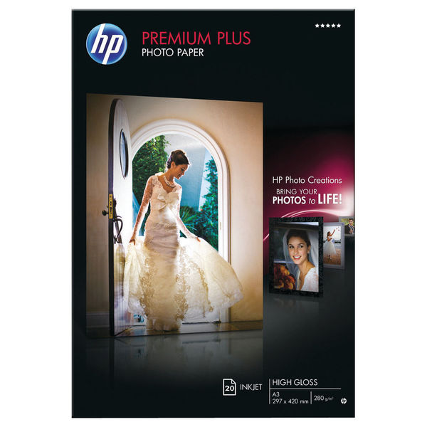 HP Premium Plus Photo Paper A3 300gsm Glossy (Pack of 20) – CR675A