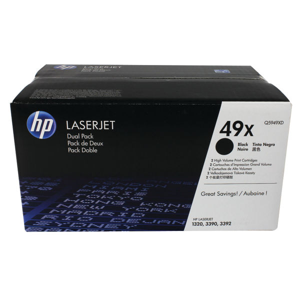 HP 49X Black Laserjet Toner Cartridge Dual Pack | Q5949XD