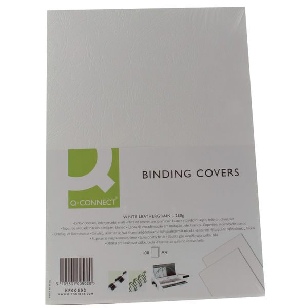 Q-Connect White A4 Leathergrain Binding Covers, Pack of 100 | KF00502