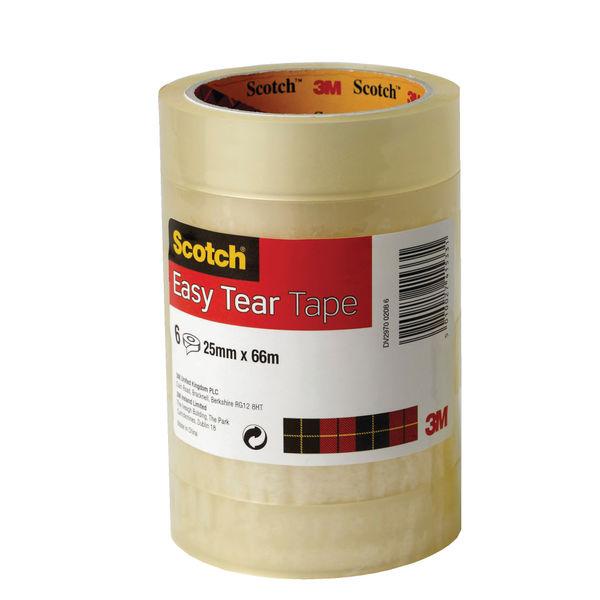 Scotch Easy Tear Clear Tape 25mm x 6m ET2566T6