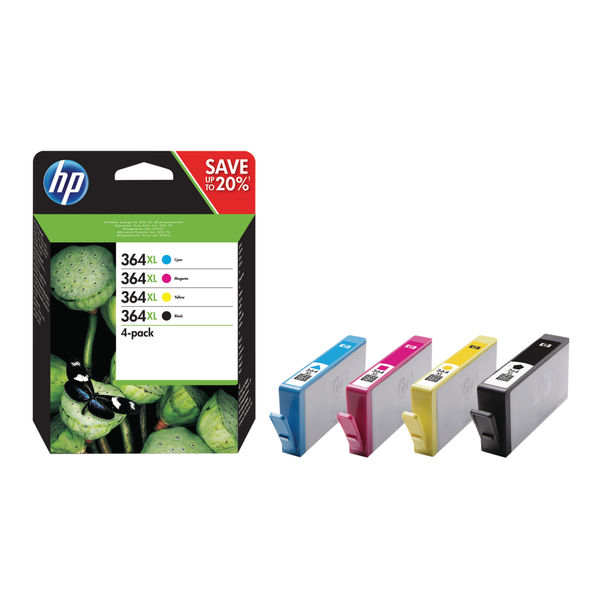 HP 364XL Black and Colour Combo Ink Cartridge 4 Pack | N9J74AE