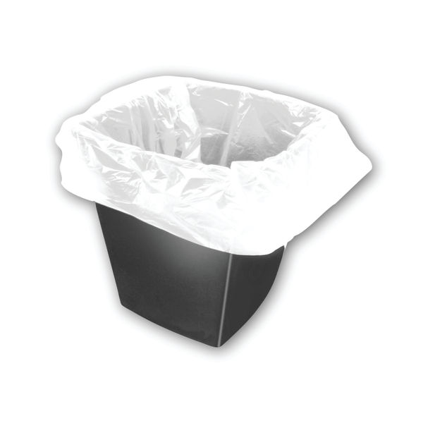 2Work White Square Bin Liners 30 Litres , Pack of 1000 | KF73380